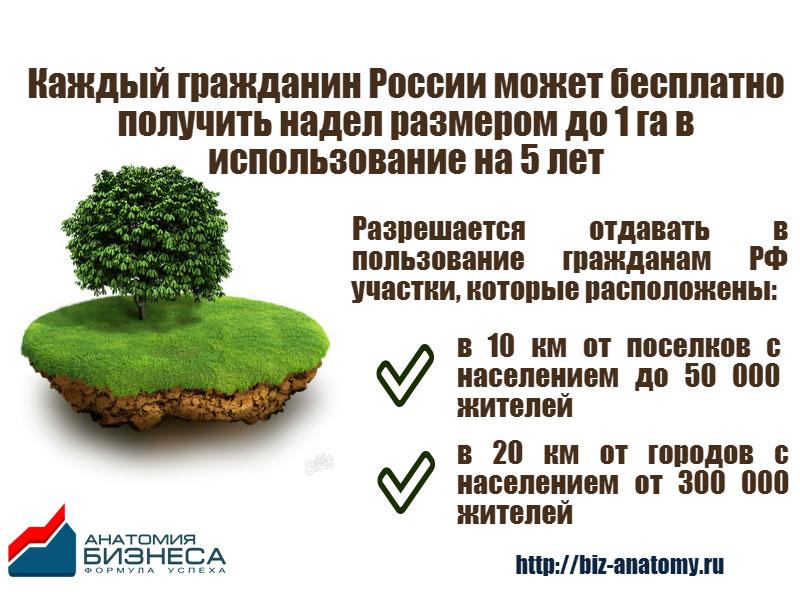 Каждый гражданин России имеет право получить надел размером 1 га на 5 лет